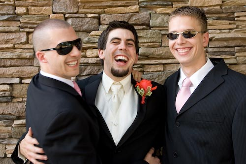 Luke with Friends at his Wedding